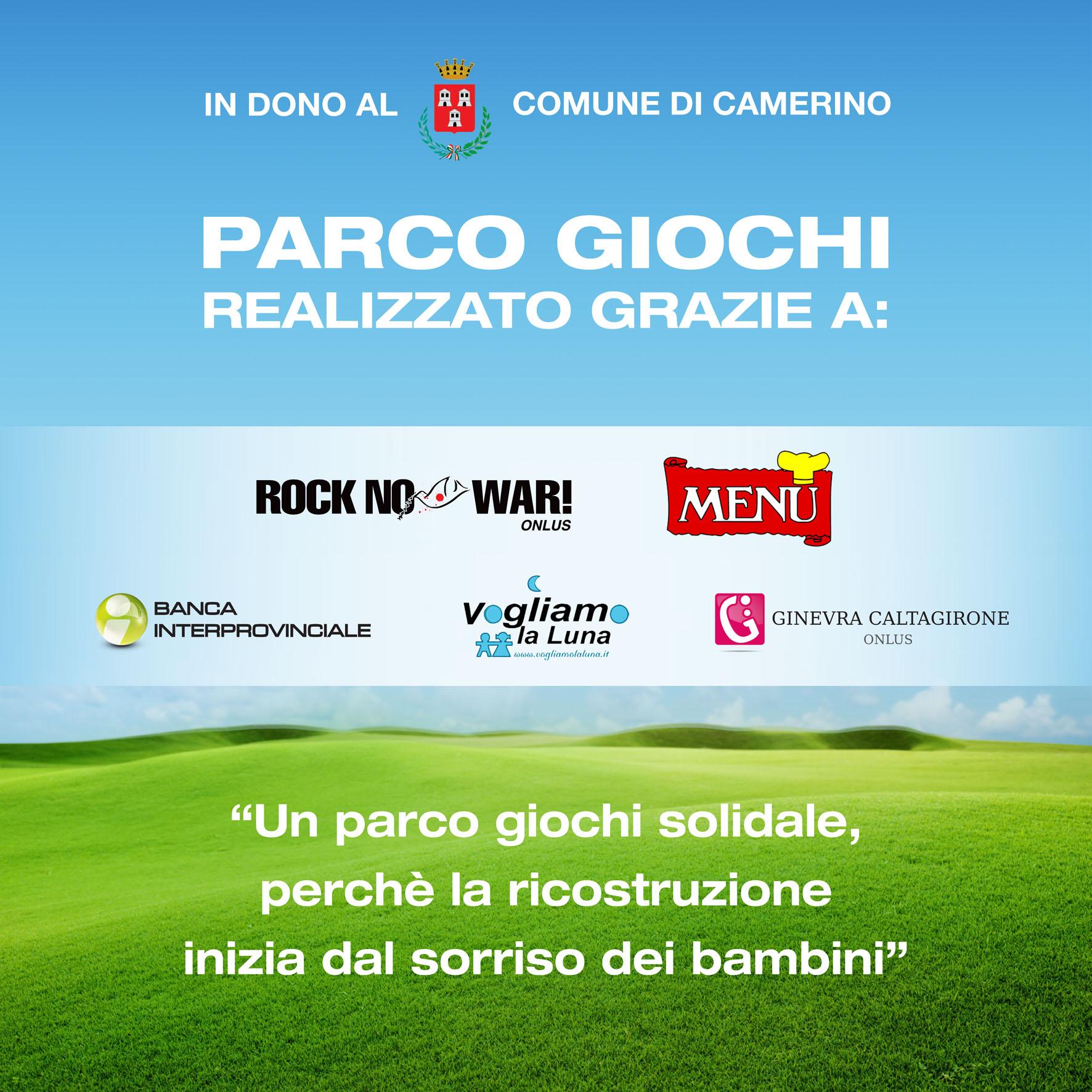Fondazione Ginevra Caltagirone and Rock no War! donate two playgrounds in Camerino and Visso(MC).